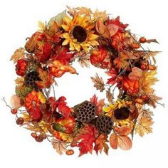 "Radiance - Sunflower Silk Wreath 20"" Another one of our Sunflower Wreath creations here at BestSilkFlowersbyEmery. A burst of orange, yellows, and browns intermingle with soft golden tones into a swirl of fall delight. Hang it on your front door, in your foyer or any where else you would like to have a splash of autumn colors. Ships for free! $69.99"
