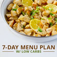 This 7-Day Menu Plan w/ Low Carbs is the perfect jumpstart to a clean eating, low carb eating plan! #lowcarbmenuplan #lowcarbrecipes