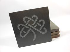 CELTIC SHAMROCK COASTERS - Celtic Knot - Carved Slate Stone - More Drink Coasters Designs. $29.00, via Etsy.