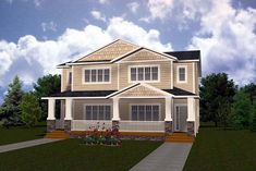 Elevation of Multi-Family Plan 81123