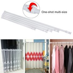 Extendable Telescopic Spring Loaded Net Voile Tension Curtain Rail Pole Rod Rods - Curtain Rods - Ideas of Curtain Rods Curtain Rod Ends, Hanging Curtain Rods, Cafe Curtain Rods, Curtain Rod Brackets, Curtain Rails, Double Rod Curtains, Shower Curtain Rods, Hanging Rail, Curtains With Rings