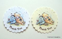 Winnie, Piglet, Eeyore, Cupcake Toppers, Winnie the Pooh, Baby Shower, Birthday, Pooh Bear, Cupcake Picks, Set of 6 or 12  * Cupcake toppers - Set of 6 or 12 * Overall Size: 4 1/2 inches tall * Card size: 2 1/4 x 1 1/2 inches * Cardstock: Cream ( shown) or White * Packaged in a clear bag  ► 1st BIRTHDAY CAKE TOPPER: https://www.etsy.com/listing/228965232/winnie-piglet-eyore-1st-birthday-cake https://www.etsy.com/listing/228958735&#x2...