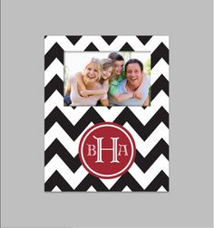 Custom Personalized Picture Frame with Monogram- Chevron- Choose your Colors and Pattern. $35.00, via Etsy.