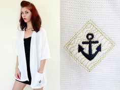 Vintage Preppy Knit Wear With NAUTICAL ANCHOR by FOXGLOVEandFAWN