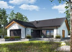 Simon III G2 energo - zdjęcie 3 Beautiful House Plans, Beautiful Homes, Modern Bungalow House, Exterior, House Design, Cabin, Mansions, House Styles, Outdoor Decor