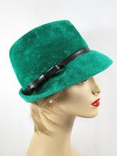 Vintage Hat Green Faux Fur Fedora by Marche Sz 22