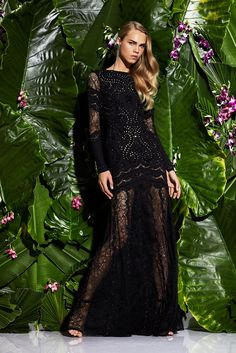 Zuhair Murad | Resort 2017 fashion collection | Long black sheer + lace dress