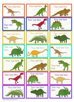 A set of editable dinosaur themed stickers, ideal to use as rewards for children who achieve certain goals. Dinosaur Theme Preschool, Dinosaur Printables, Dinosaur Activities, Dinosaur Crafts, Camping Activities, Dinosaur Party, Kids Lunch Box Notes, Dinosaur Silhouette, Dinosaur Pictures
