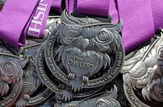 The Owler Run Race Medal Marathon Finisher Award Design Owl Purple
