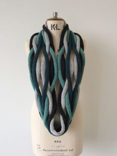 A limited edition Braid Loop in teal, duck egg and greys.