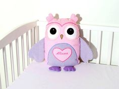 Baby Owl, Custom Owl Pillow, Baby Monogram Pillow  All Heart Owl Pillow    His ears, every little bit of his wings, feet, this owl is hartsy
