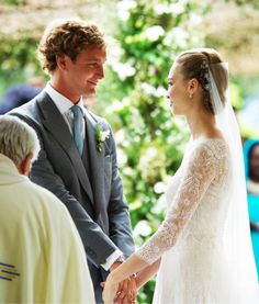 royalwatcher:  Religious Wedding of Pierre Casiraghi and Beatrice Borromeo, Lake Maggiore, Italy, August 1, 2015-the bride and groom