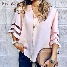 V Neck Flared Sleeves Mesh Patchwork Shirts Summer Plus Size Casual Loose Mesh Women Blouse Pink Street Womens Tops Blouses Tunic Shirt, Shirt Blouses, Kimono Cardigan, Plus Size Tops, Plus Size Casual, Holiday Blouses, Pink Street, Cooler Look, Loose Tops