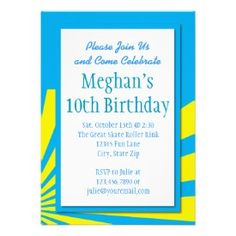 Teal Blue Starburst Birthday Party Invitations