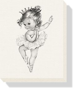 Personalized Vintage Princess Ballerina Stretched Canvas