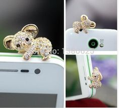 3pcs/lot Cute Koala Shape With Diamond For Iphone For Samsung And For All 3.5MM Universal Earohone Dust Plug