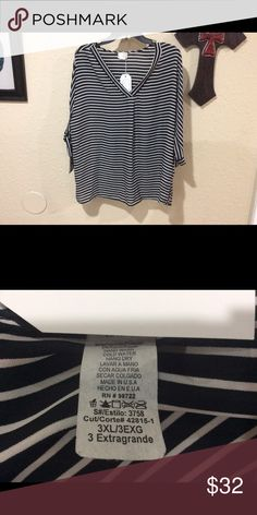 Espressa size 3XL striped blouse This is a new, with tags attached, boutique style Espressa size 3XL black and white striped blouse. Fast shipping from a smoke free home. Offers and questions welcome. Thank you for looking. Espressa Tops Blouses
