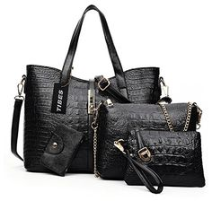 Tibes Luxury HandbagSingle Shoulder BagWalletCard Package 4pcs Set Black * See this great product.Note:It is affiliate link to Amazon.