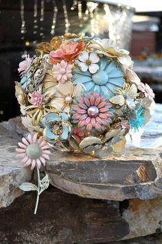 Pastel Pinks, Blues, Gold. CUSTOM Vintage Wedding Pastel Brooch Bouquet - to fit your style, budget & colors, OOAK, vintage bridal bouquet. $400.00, via Etsy.
