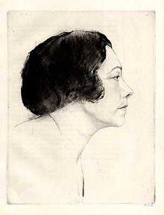 Emil Orlik  ||  Tilla Durieux, profile facing right,  Pub. 'Spielen und Träumen - Plays and Dreams' by Tilla Durieu (Actress) Etching 1922