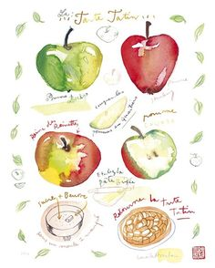 Watercolor kitchen art, Apple pie recipe print, French cake, 8X10, Food painting, Bakery poster, Fruit, Home decor