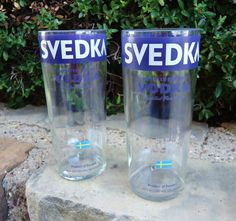 Recycled Svedka Vodka Bottle Drinking Glasses with handles. Man cave ready! By ConversationGlass, $32.00