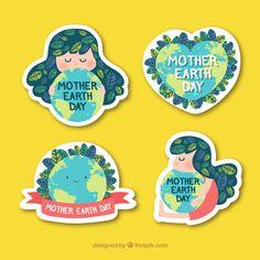 Descarga gratis vectores de Colección de pegatinas del día de la madre tierra