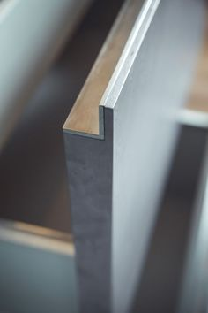 INTERIOR-iD - The sides of the timber drawers and brush stainless steel trim to the internal rim have been beautifully mitred together. Modular Furniture, Retro Furniture, Farmhouse Furniture, Upcycled Furniture, Unique Furniture, Kitchen Furniture, Kitchen Interior, Diy Furniture, Furniture Logo