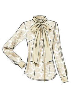 Vogue Patterns, Dress Design Drawing, Loli Kawaii, Shirt Bluse, Bow Blouse, Fashion Sketches, Art Sketches, Blouses For Women, Chiffon