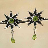 Peridot earrings, 'Mystical Stars'