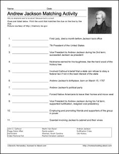 Andrew Jackson Worksheets and Coloring Pages: Andrew Jackson Vocabulary Worksheet