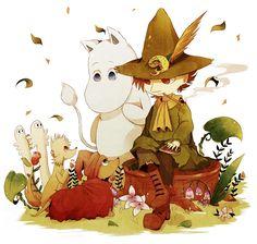 Snufkin and Moomin Cartoon Shows, Cartoon Characters, Les Moomins, Tove Jansson, Moomin Valley, Bullet Journal Art, Cute Illustration, Troll, Otaku