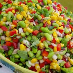 Bright, colorful, AND delicious salad for the WIN tonight! Serves: 8-10 Ingredients: 1.5 lb frozen shelled edamame 3 cups frozen organic corn 2 diced red bell peppers 1 cup thin sliced green onion 1 cup finely chopped red onion 1⁄3 cup chopped fresh Italian parsley 2 Tbsps fresh chopped basil...
