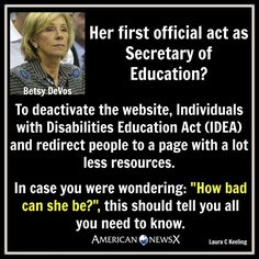 """This is not a fucking joke. And this is only step one to """"bettering"""" education. And Republicans wonder why so many people think they really don't care about the little guy? Satire, Betsy Devos, Religion, Greed, Social Issues, Along The Way, Social Justice, Told You So, At Least"""