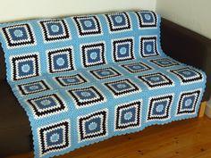 Blue Crochet Afghan Blue Crochet Blanket 53x53 by PhoenixSmiles