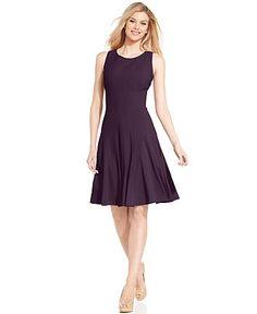 Calvin Klein Petite Sleeveless Pleated A-Line Dress Women - Dresses - Macy s 6b12760b0ef