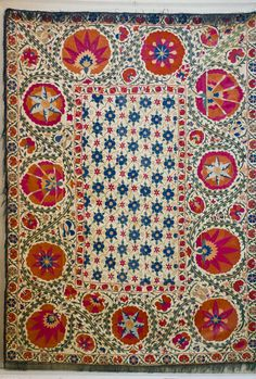 Textile - Bukhara Suzani with Pomegranate Design, Textile Prints, Textile Patterns, Textile Design, Print Patterns, Lino Prints, Floral Patterns, Block Prints, Of Wallpaper, Pattern Wallpaper