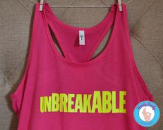 "This awesome tank is exactly what you need to channel your inner Kimmy Schmidt. It features the word Unbreakable in bright neon yellow text on a hot pink racerback tank top.  [NOTE: Sizes run small, you may want to size up.]  Due to monitor/display settings and/or dye lots, colors may vary slightly.  All of our products are made to order with a professional heat press. If you'd like a different color combination (see image showing our options), include that info in the ""notes to seller""…"