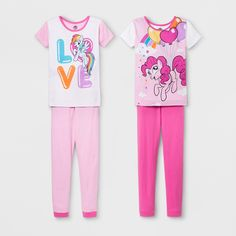 Girls' My Little Pony 4pc Pajama Set - Pink 10 Baby Girl Fashion, Kids Fashion, My Little Pony Pajamas, Pajama Set, Pajama Pants, Sleepover, Cotton, Pink, T Shirt