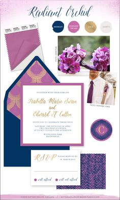 "Inspiration for wedding event branding using Pantone color of the year 2014 ""Radiant Orchid"" // by After Hours Design Studio // Modern chic event branding incorporating purple and navy color combination with gold accents and chevron pattern // #afterhoursdesignstudio"