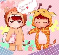 Ha ha. I'm pretty sure that's N and Leo. Cute