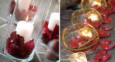 rot-rose-Kerzen-hochzeit-deko-wasser-schön-licht