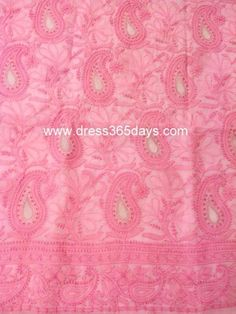 A light pink kurta fabric with chikankari embroidery, applique and heavy jaali work. It has all over jaal work and motifs at the back. Fourth image is of sleeves. Bottom and Dupattanotincluded Fabric:Cotton Length: 48 inches Sleeves Style:FullSleeves Technique : Hand Embroidery Wash Care : Hand Wash or dryclean