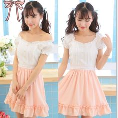"Japanese sweet bowknot chiffon blouse Coupon code ""cutekawaii"" for 10% off"