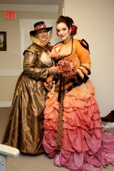 How a bride and her mother hand-crafted a fantastical steampunk wedding ensemble - Hand dyed wedding dress, awesome! @ offbeatbride.com