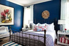 i suwannee: a week of design - a bold blue bedroom--- I loveeeee this! Like my bed frame, too. My room isn't big enough and doesn't have all these white pieces!