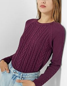 En Stradivarius  Jersey ochos por sólo 19.95 Vogue Knitting, Pullover Rock, Woolen Tops, Knitted Baby Clothes, How To Make Clothes, Casual Work Outfits, Sweater Knitting Patterns, Dressed To Kill, Winter Fashion Outfits