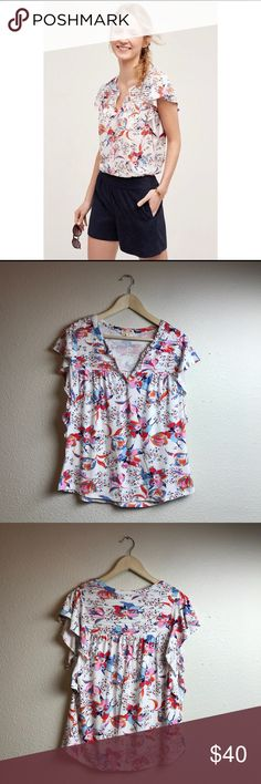 Meadow Rue Ridge Yoke Floral Tee Flutter Sleeve Anthro Meadow Rue Ridge Yoke Floral Tee Flutter Sleeve.                                                                    Color-White, Blue, Pink, Red, Orange Pattern-Floral Condition-Excellent; No stains, tears, or holes.  Size-Medium Armpit-Armpit-22 inches  Length-27 1/2 inches Anthropologie Tops Blouses