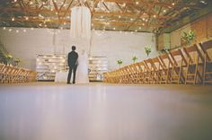 Handmade Industrial Wedding tables around the sides...middle open
