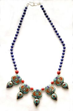 Handsome Nepalese FivePoints Necklace by SilkRoadJewelry on Etsy